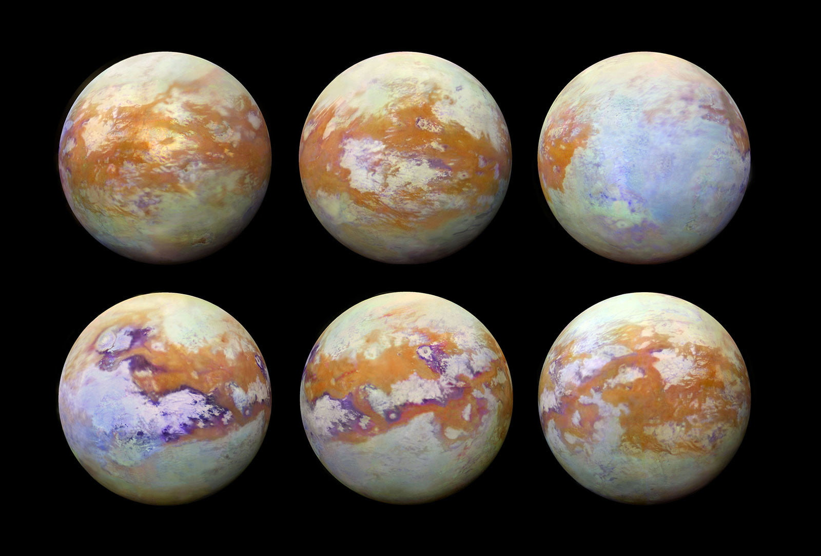 These six infrared images of Saturn's moon Titan represent some of the clearest, most seamless-looking global views of the icy moon's surface produced so far. The views were created using 13 years of data acquired by the Visual and Infrared Mapping Spectrometer (VIMS) instrument on board NASA's Cassini spacecraft.