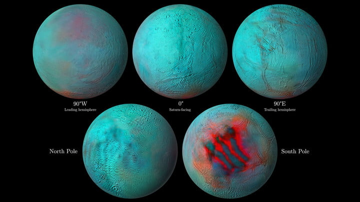 In these detailed infrared images of Saturn's icy moon Enceladus, reddish areas indicate fresh ice that has been deposited on the surface.