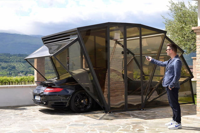 the gazebox is a garage and gazebo in one  new concept of