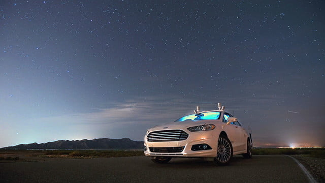 ford autonomous car drives at night with no lights headlights