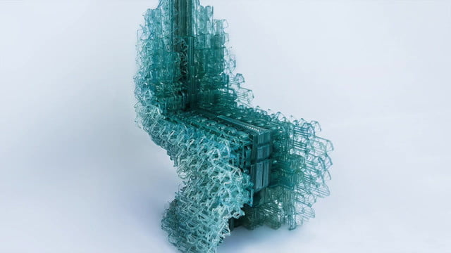 robot printing chair continous plastic made voxel is 3d printed from a single  unbroken strand of