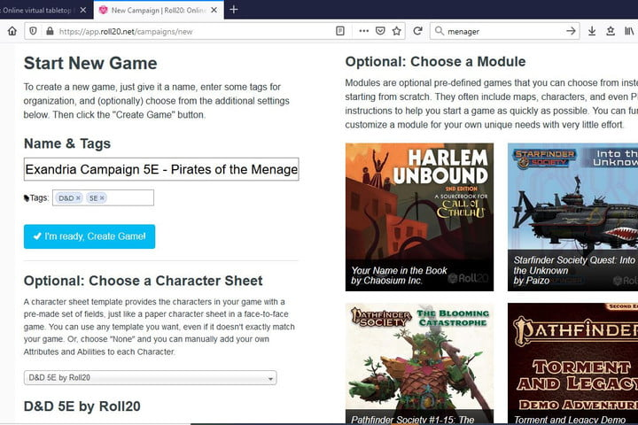Picture of Roll20 Start a new game page