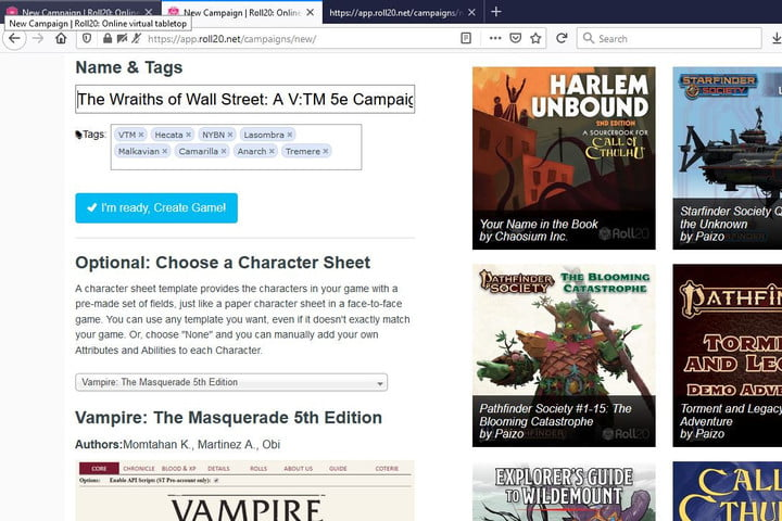Pictures of the Roll20 VTM campaign page