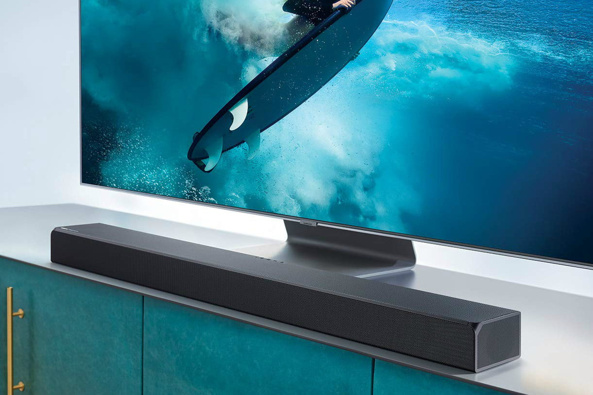 Experience truly immersive sound with the Samsung HW-Q90R soundbar