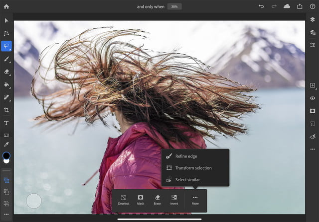 how to use photoshop for ipad refine edge selection hair copy