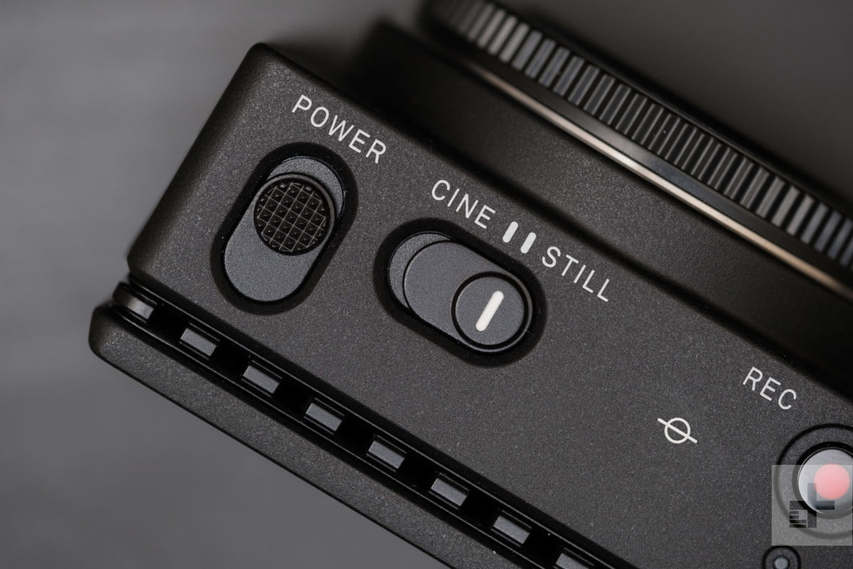 Sigma fp Detailed view of power and cine / still switches.