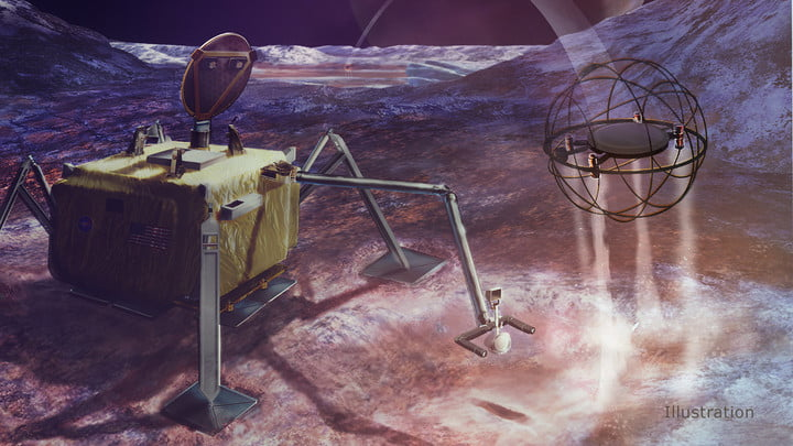 Moons In this artist's concept, a steam-powered SPARROW robot jumps away from its home base to explore the surface of an icy moon.