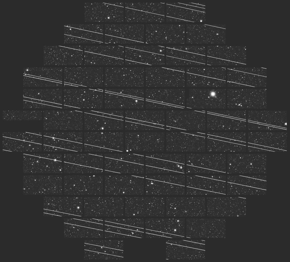 Image showing the disruption of astronomical observations caused by a previous Starlink launch
