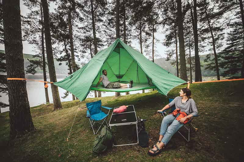 This tent is versatile enough for ground, air, and water