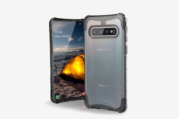 Picture of the Samsung Galaxy S10 phone with the Urban Armor Gear Plyo Case on it