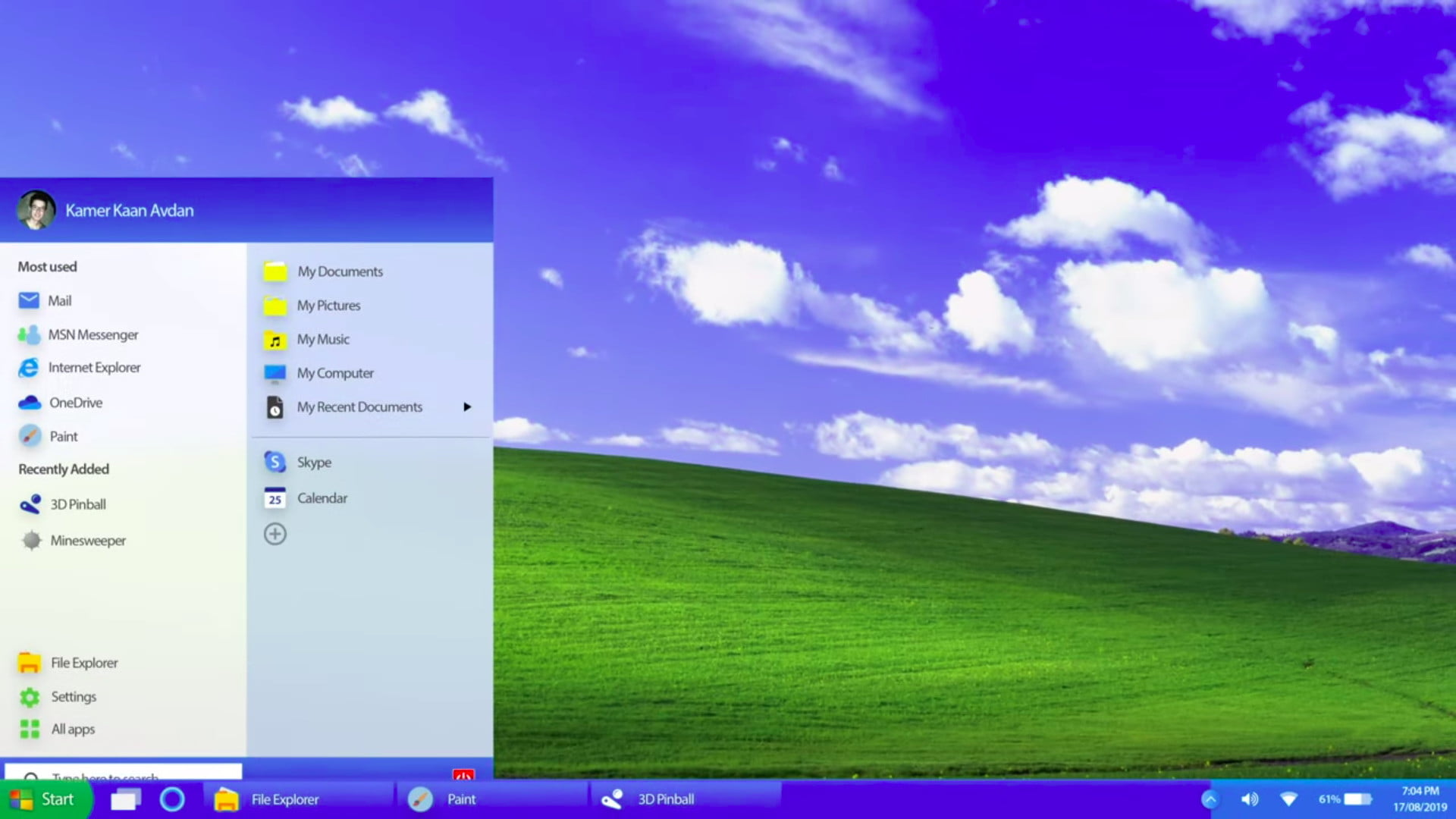 The Start button stars in this gritty reboot of Windows XP as a 2019 UI concept