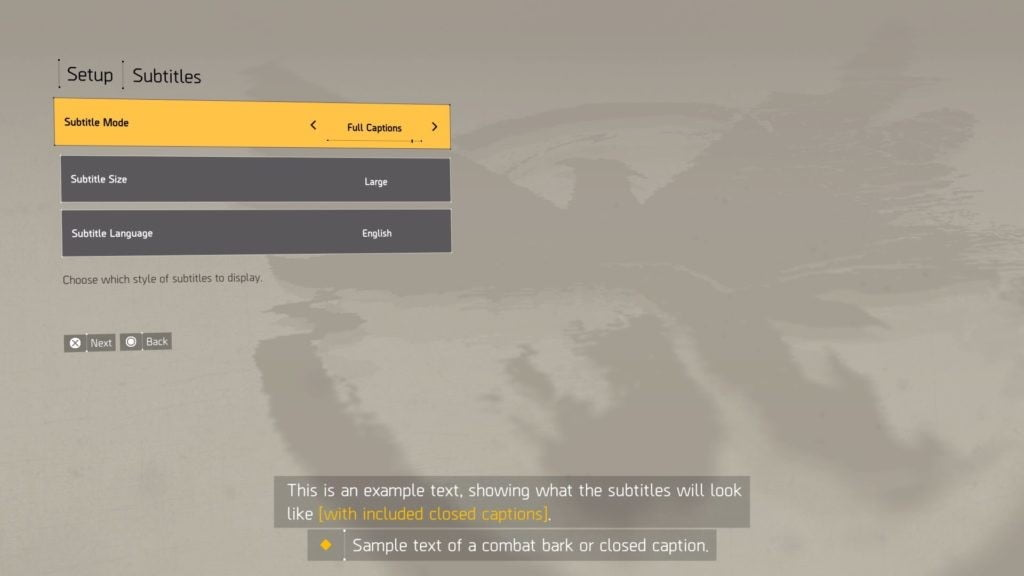 the division 2 accessibility subs