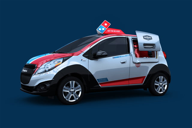 dominos innovative dxp chevrolet spark pizza delivery car 1