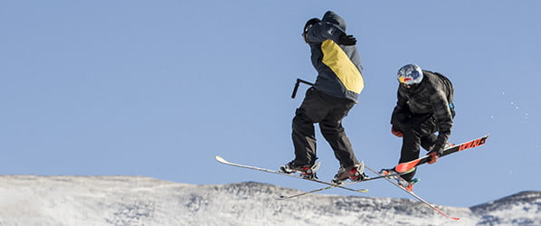 Think skiing is tough? Try filming it, going backwards, with a 20-pound camera