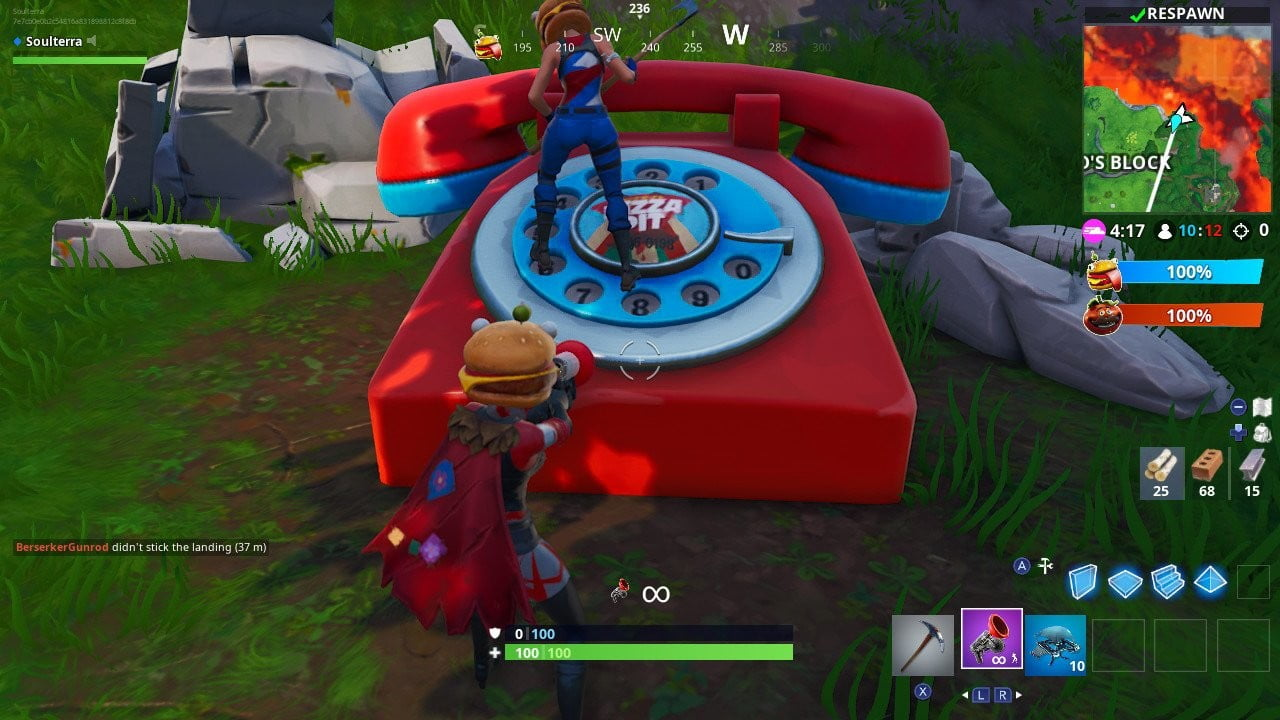 fortnite week 8 challenge guide dial the durr burger number on the big telephone - burger character fortnite