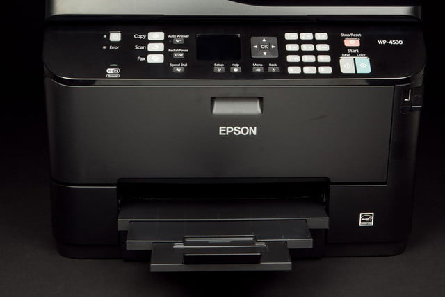 Epson-WorkForce-Pro-WP-4530-control-panel-and-print-tray-open