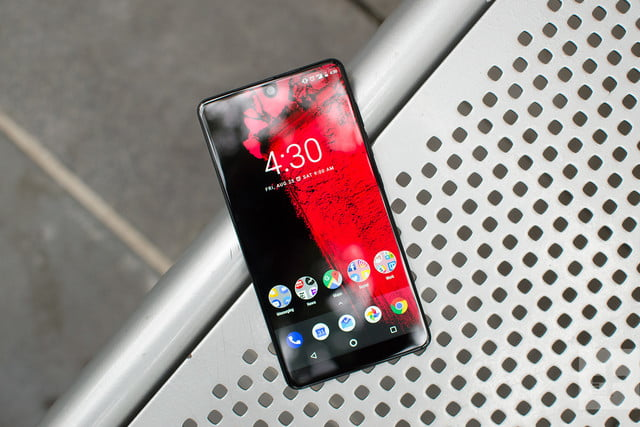 Essential phone review phone on bench