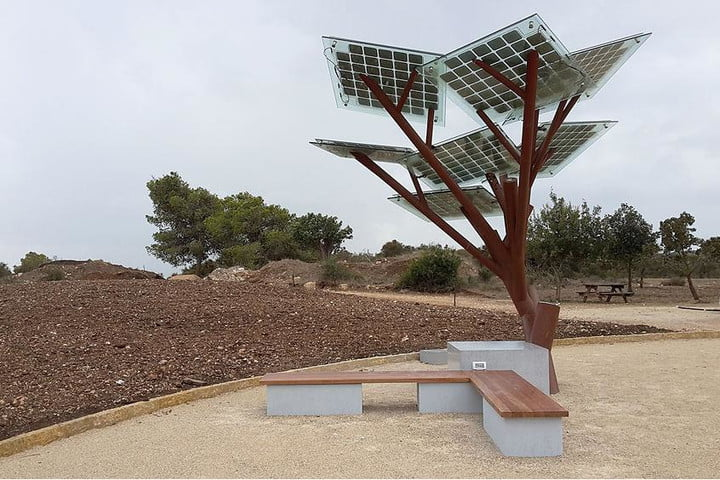 Solar-powered trees are planted in Israel to charge phones, cool water, and offer Wi-Fi