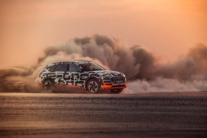 2019 audi e tron prototype driving impressions etron extreme power play dust cloud