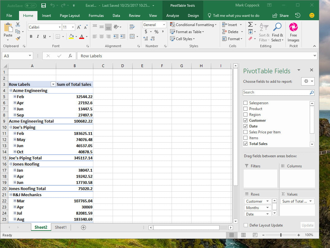 microsoft excel pivot tables
