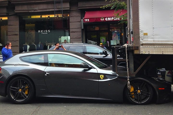 In true New Yorker fashion, truck driver 'didn't see nothing', as he crushed Ferrari FF