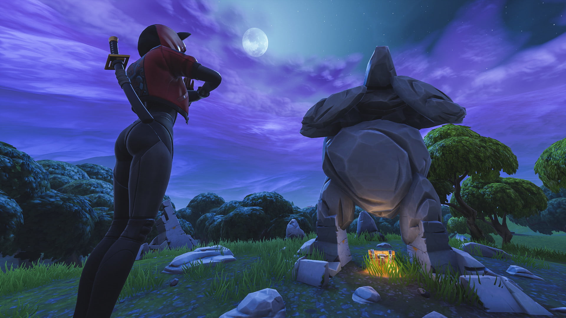 Fortnite Week 5 Challenges Search Between A Giant Rock Man Season