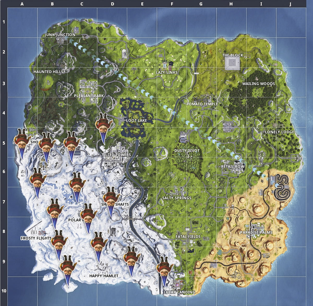 Fortnite season 7 week 6 challenges search for chilly gnomes locations map