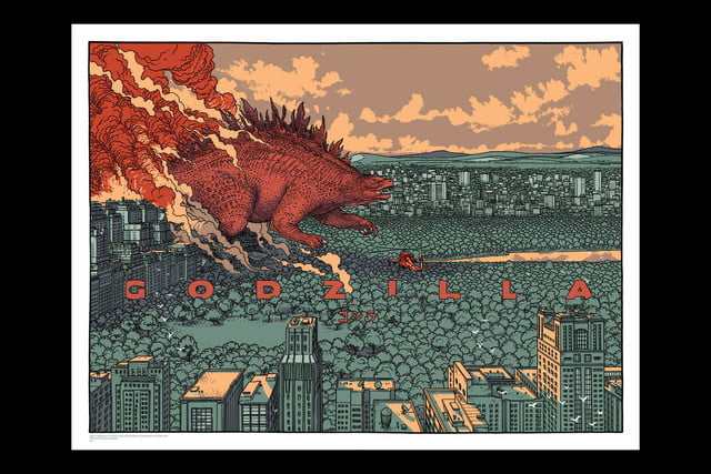 best stranger things style movie posters godzilla by jared muralt