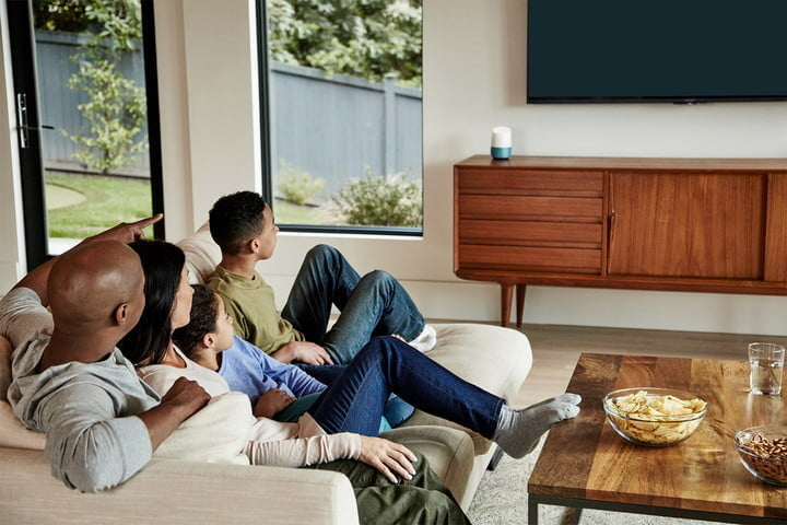 family watching tv with google home