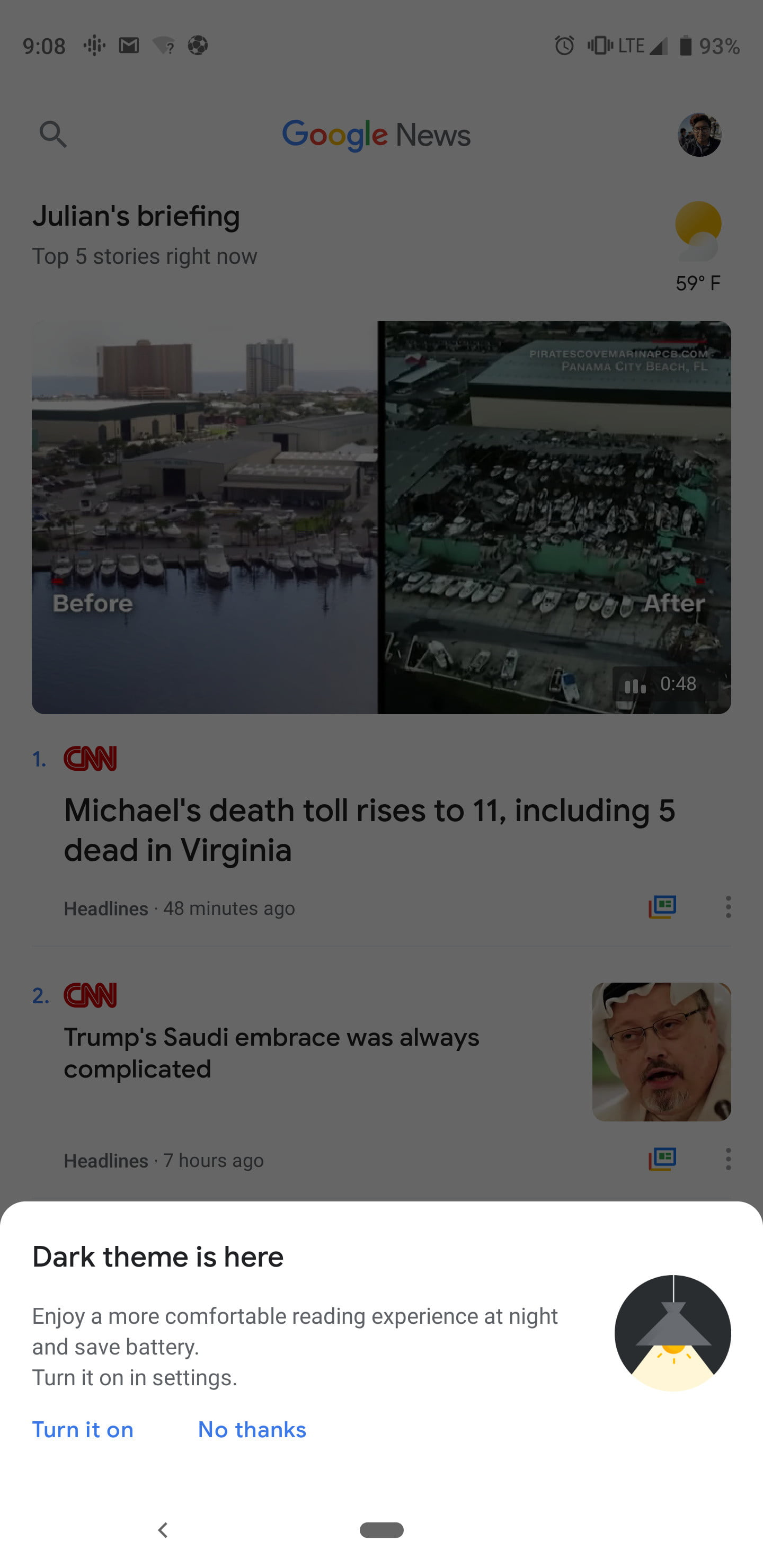 google news gets a dark mode in its latest android update digital