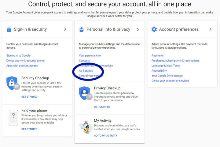 how to turn off targeted ads in google googleaccountsettings