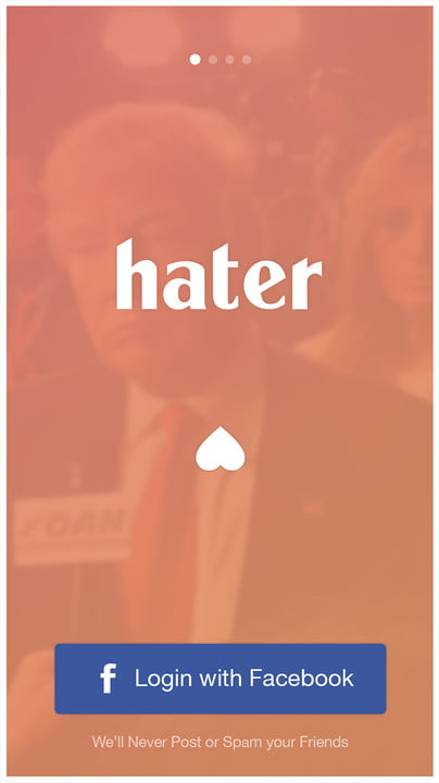 hater dating app screen 1
