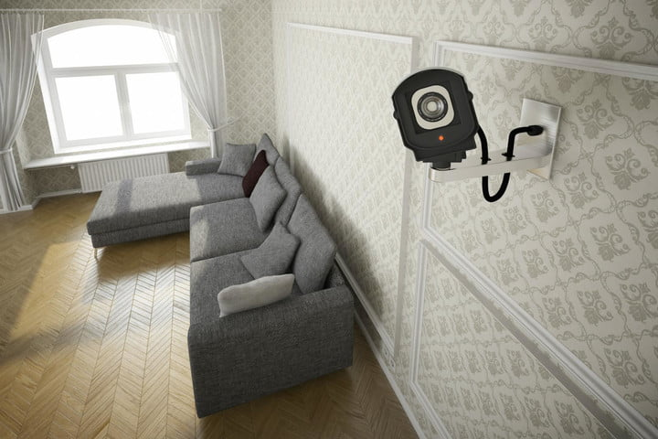 Default Someone Spying Security Camera Home In Living Room