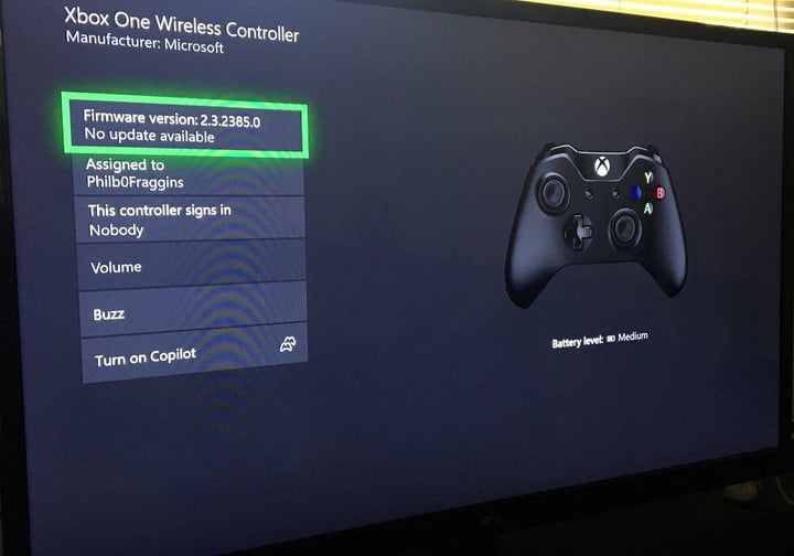 how to sync an xbox one controller firmware menu