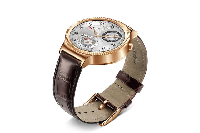 huawei watch news gold leather left angle