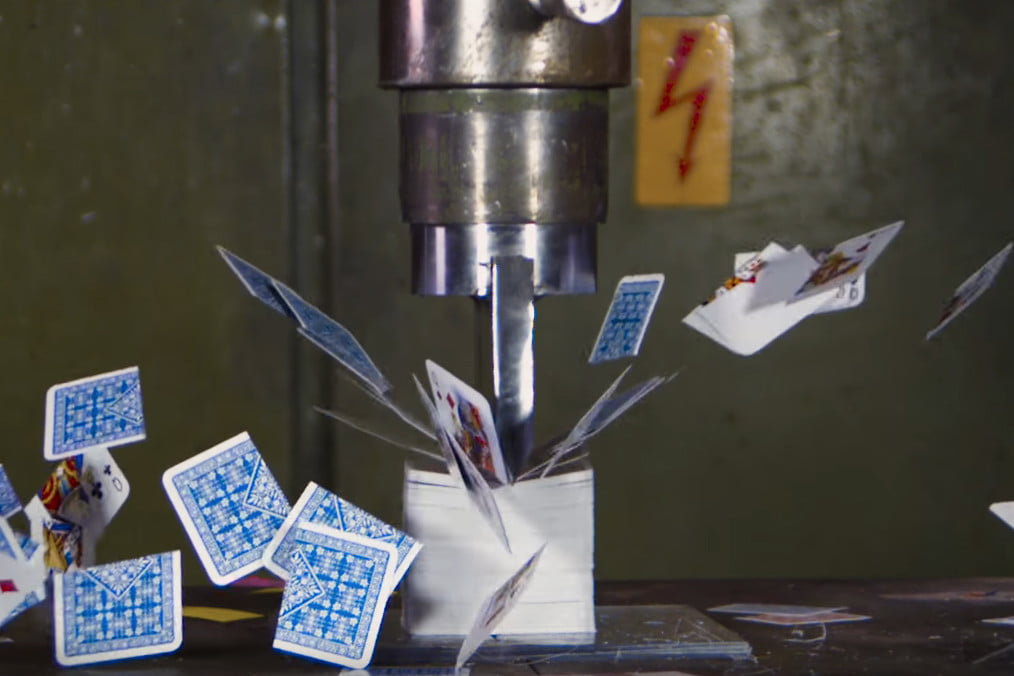 watch as this hydraulic press rips satisfyingly through packs of