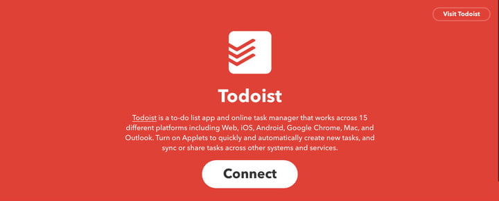 IFTTT Todoist Sign Up