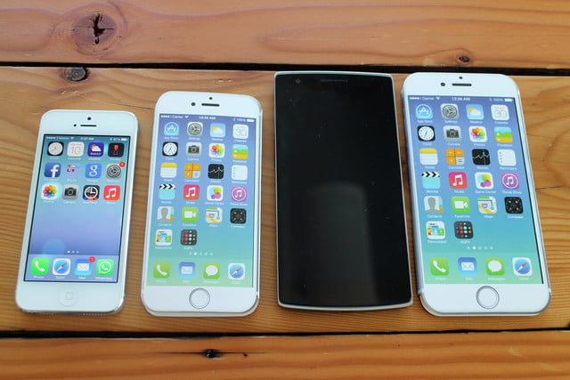iPhone 5, iPhone 6, OnePlus, and iPhone 6 Plus