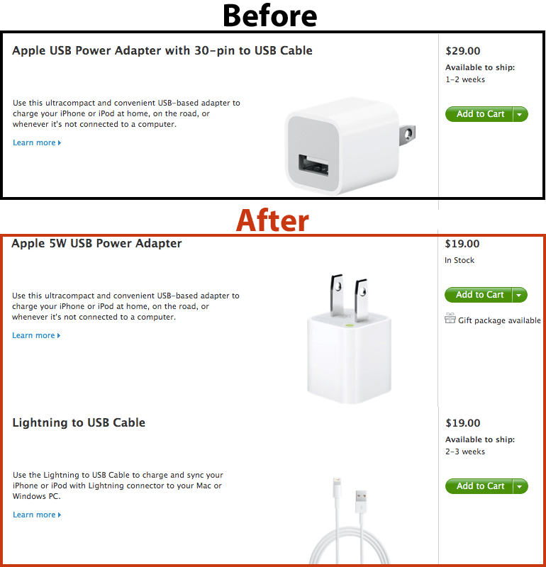 apple jacks up iphone 5 replacement charger price by 9. Black Bedroom Furniture Sets. Home Design Ideas
