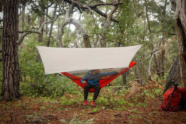 Keep the rain away and the bugs at bay with this hybrid camping hammock