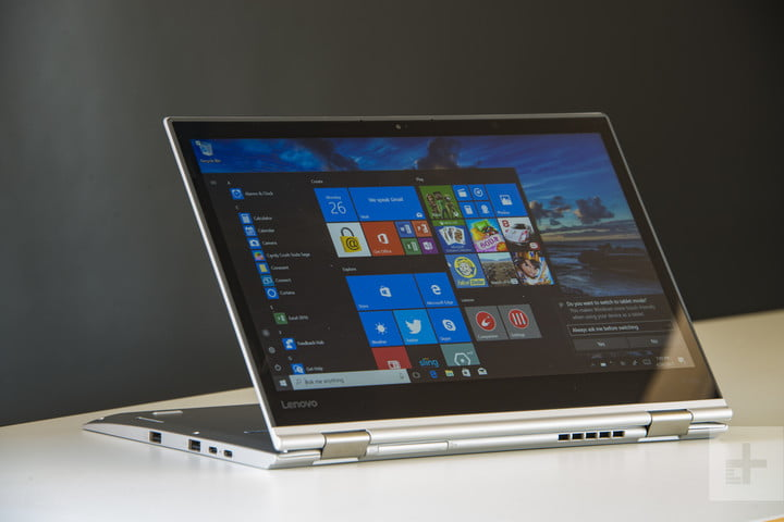 Horizontal tablet mode with the stand flat on the table angled right— Lenovo ThinkPad X1 Yoga