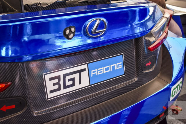 Close-up detail shot of the Lexus RC F GT3 license plate area