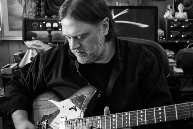 Matthew Sweet in home studio black and white