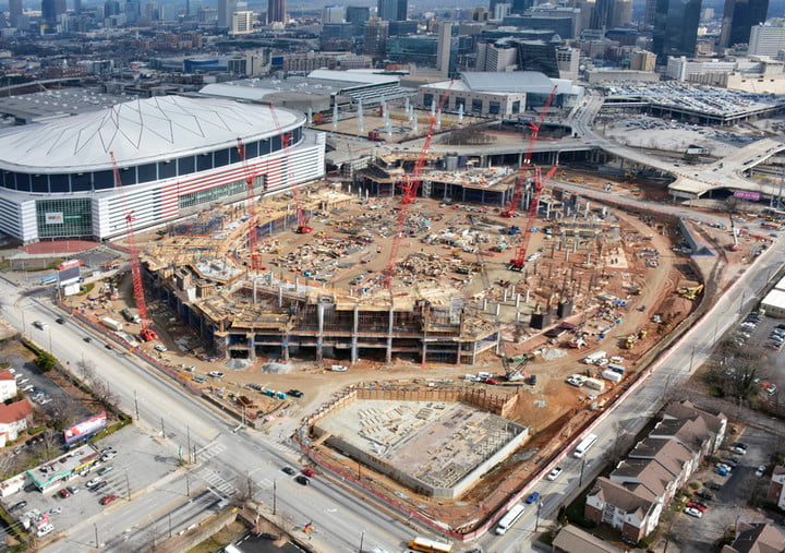 dt10 fans and players compete for stardom in the stadiums of future mercedes benz stadium construction 2