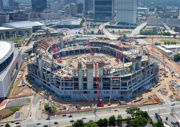 dt10 fans and players compete for stardom in the stadiums of future mercedes benz stadium construction 3