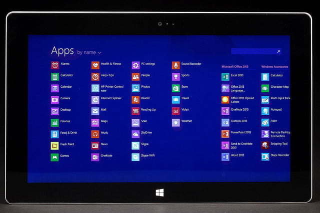 Microsoft Surface 2 front app grid