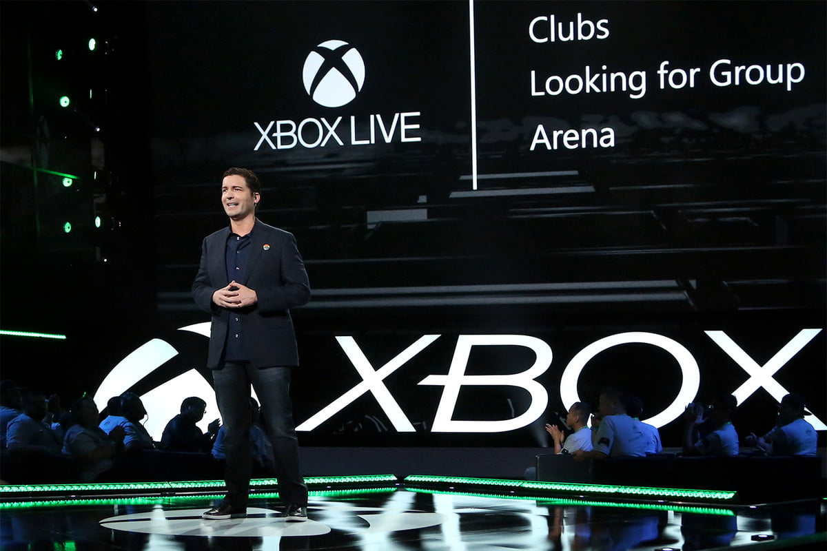 Mike Ybarra on stage at an Xbox press conference