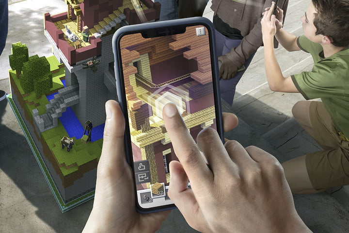 Player Placing Block in App on Phone Screen | Minecraft Earth Key Art