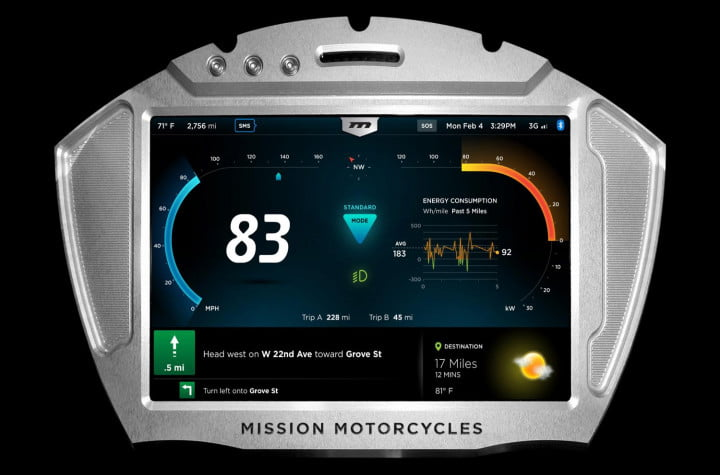 missions hot new 160hp electric motorcycles one gear plus reverse 150mph and no shifting mission moto r display