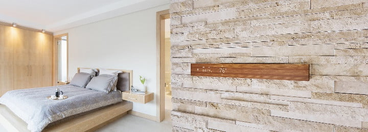 mui wood panel smart display in home